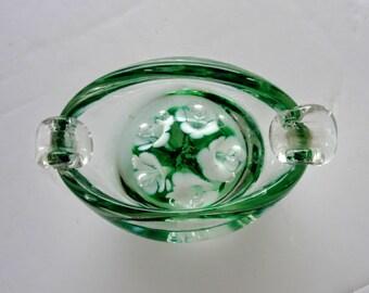 Blown Glass Trinket Dish Ashtray Vintage Clear Green White Lillies Bubbles Beautiful