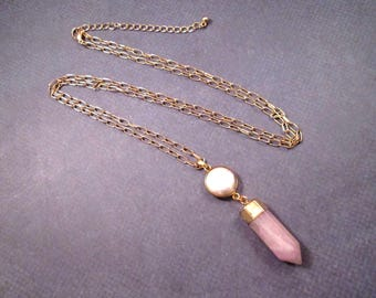 Quartz Crystal and Freshwater Pearl Necklace, Pink Stone Pendant and Pearl Bezel, Extra Long Gold Chain Necklace, FREE Shipping U.S.