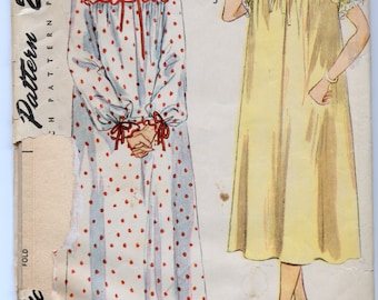 Vintage 1950's Misses' and Women's Nightgown In Two Lengths and Bed-Jacket Sewing Pattern - Simplicity 3388 - Size 14, Bust 32 - UNCUT