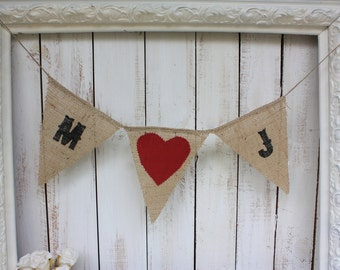 Western style banner persoanlized with your initials,red heart