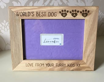Oak Dog dad photo frame gift