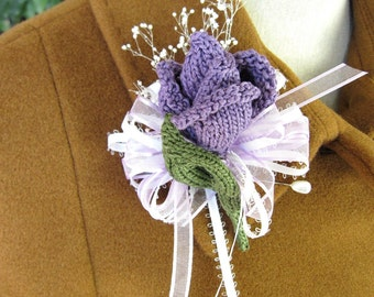 Hand Knit Flower Jewelry - Rose Bud Corsage / Boutonniere