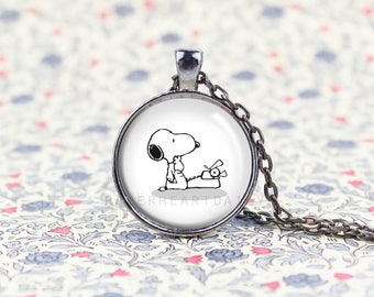 Typing Snoopy Charm - Snoopy Writer - Writer Pendant - Jewelry for Writer - Author Jewelry - Storyteller - Typewriter Pendant -  (B1996)