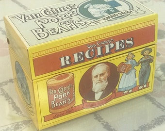 Vintage Van Camps tin recipe holder