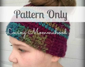 Messy bun Pattern - Ponytail Hat Crochet - Ponytail Hat Pattern - Messy Bun Hat - Messy bun Pattern - Crochet Pattern - Man Bun Hat