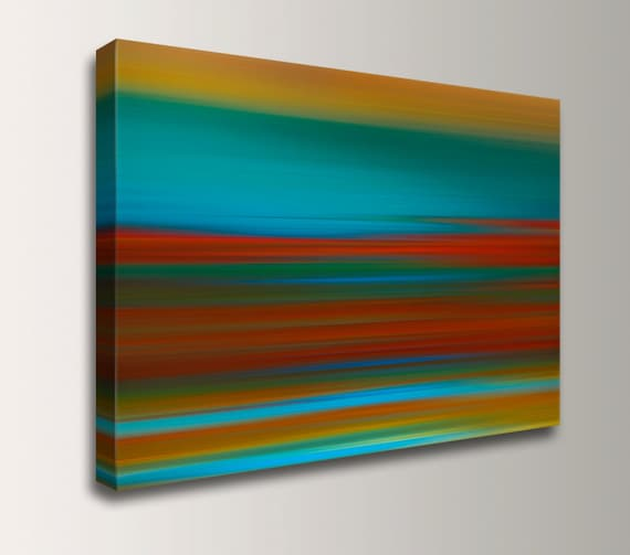 "Abstract Painting - Teal and Red Canvas Print - Contemporary Fine Art Reproduction - Modern Wall Decor - "" Sunset Strip """