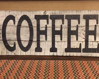 Coffee bar sign, rustic coffee sign, wood coffee sign, farmhouse coffee sign, kitchen coffee sign