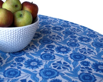 Round Indian Blue Tablecloth Wood-Block Printed