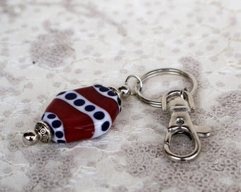 Patriotic Red/White/Blue Lampwork Beaded Keychain