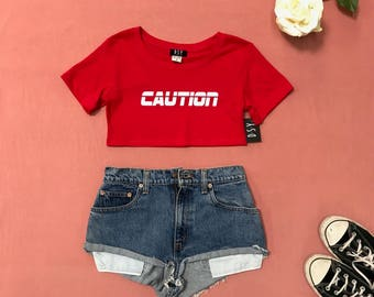 UNDERBOOB Tee | CAUTION , Festival Clothing , Rave Crop Top , Underboob , Crop Top , Cropped , Rave Outfits , Rave Top , Women's Clothing