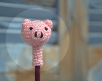Amigurumi pig pencil topper, crochet animal head pencil cozy