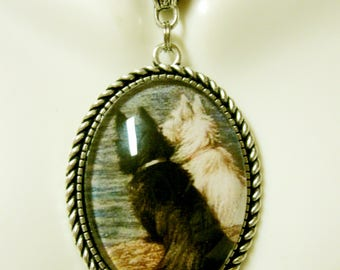 Scottie and Westie on the beach pendant with chain - DAP09-513