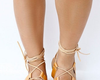 Women's Greek leather sandals, Tie Up Gladiator style sandals, knee high sandals, Flat Sandals, Natural Leather
