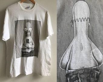 Vintage 90s Homer Simpson Tshirt // Retro Cartoon Couch Potato Tee // The Simpsons Comic Satire Humour Shirt // Matt Groening Calvin Klein