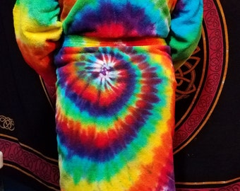 Tie Dye Bath Robe, Rainbow Spiral (or any custom design and colors)
