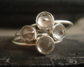 White Topaz Ring - Sterling Silver Stacking Rings - Stack Ring Set - Topaz Stack Rings - Topaz Ring