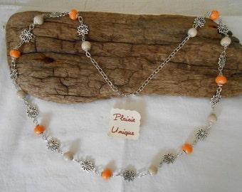 Necklace beads round Orange dots and Ecru