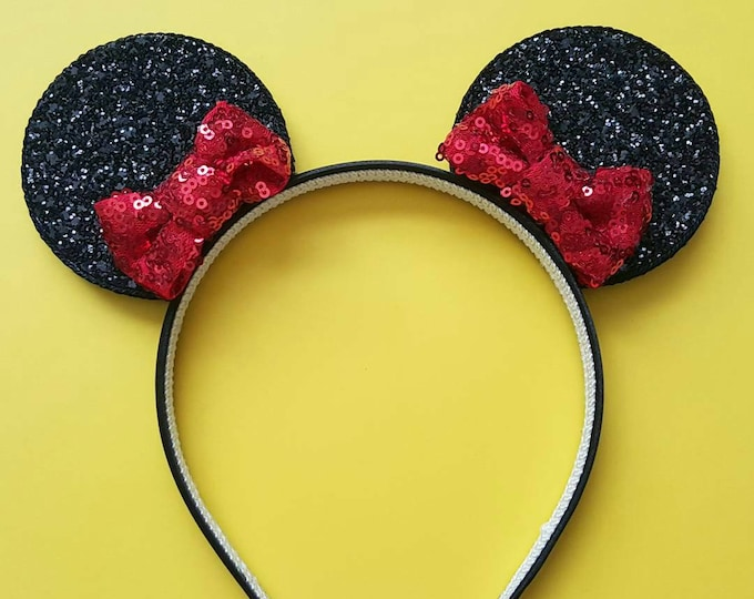 Glittery Pixie Bitty Bow Minnie Mouse Ears Headband || Minnie Mouse Birthday || Minnie Mouse Headband || Minnie Ears
