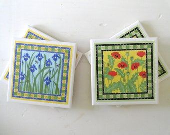 Purple Iris and Red Poppy Drink Coasters-Set of 4