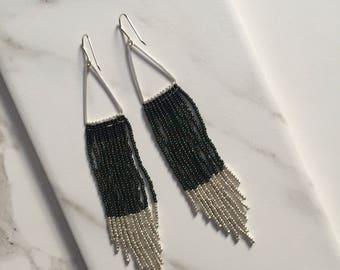 Geometric Fringe Earrings in Forest Green and Silver; Beaded Tassel Earrings; Sterling Silver and Seed Bead Statement Dangle Earrings