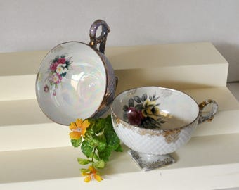 Vintage Nippon Japan Yoko Boeki Iridescent Square Footed Pedestal Orphan Tea cups, Japan Collectible China Tea Cup 1930s