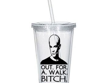 Buffy the Vampire Slayer Spike Out For A Walk Bitch Horror Tumbler Cup Gift Home Decor Gift for Her Him Any Color Personalized Custom