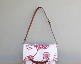 Womens Modern Red Floral Handbag in 2 Sizes, Converts to Tote, Red Shoulder Bag, Foldover Messenger Bag, Summer Purse, Leather Strap, USA