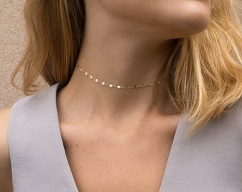 Chain Lace Choker Necklace, Gold, Silver, or Rose Dainty Choker Chain or Short Layering Necklace /  LACE CHAIN by Layered and Long LN007_aj