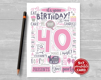 "Printable 40th Birthday Card - Doodled Forty Birthday Card in Pink - 5""x7"" plus printable envelope template. Instant Download."