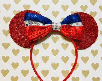 Cute Patriotic Sequin Bow Tie inspired Red Sparkle Minnie Mouse Headband Ears