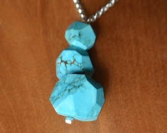 Natural Sleeping Beauty Turquoise Pendant on Sterling Silver Chain, Faceted Sleeping Beauty Turquoise Beads, Handmade & One-of-a-Kind