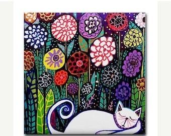 Cat art Tile Ceramic Coaster  Folk Art Print of painting by Heather Galler