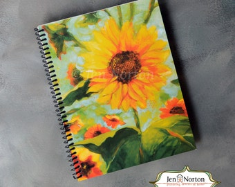 Big Yellow Sunflower Writing Journal, spiral-bound notebook with lined paper, gift for Christian woman, spiritual retreat notebook