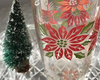 Set of 2 1950s Christmas Water Glasses / Stamped Maryland Glass Corporation / Mid Century Holiday Glassware