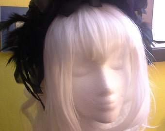 Black Rose Flower Crown Headband