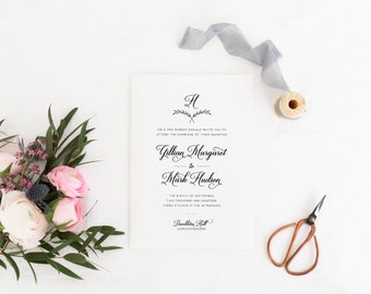 Classic Wedding Invitation, Elegant Wedding Invitation, Wreath Wedding Invitation, Printed Wedding Invitation Suite, Paddington Collection