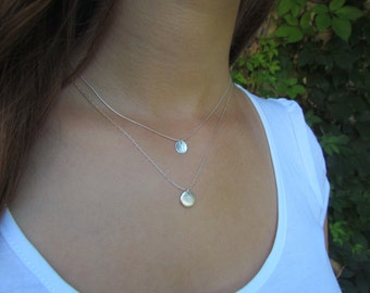 Two Layered Disc Necklaces, Simple Silver Necklaces, Silver Disc Necklaces, Hammered Silver Disc Necklace