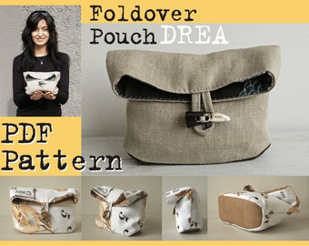PDF Sewing Pattern to make Foldover Pouch DREA easy sewing tutorial