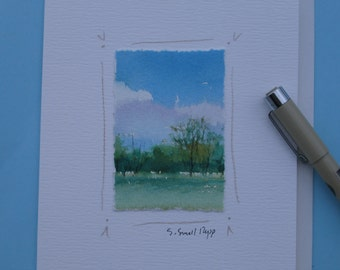 Original landscape watercolor painting, blank notecard, watercolor card