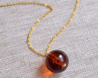 Long Amber Necklace, Halloween Jewelry, Dark Burnt Orange Lucite Pendant, Silver or Gold Plated Chain, Large Vintage Bead