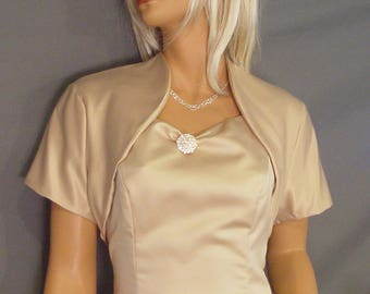 Satin bolero jacket bridal shrug wedding cover up short sleeve SBA100 AVAILABLE in champagne and 17 other colors. Small through plus size!