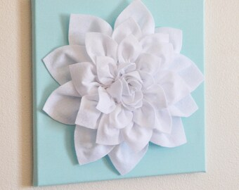 "TWO Wall Flowers -White Dahlia on Aqua 12 x12"" Canvas Wall Art- 3D Felt Flower"