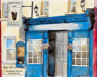 Personalized Pub Painting - Fine Art Print - Irish Pub - Ireland Custom Print - Custom Artwork - Ireland Pub Painting - Holiday Gift Idea