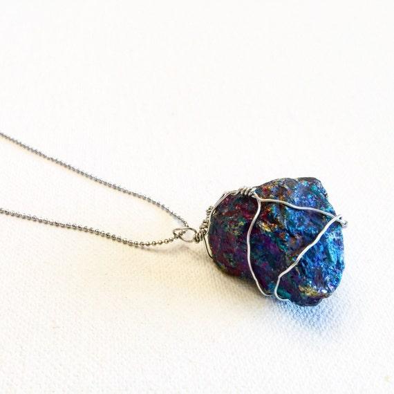 Silver & Peacock Ore Stone Pendant Necklace