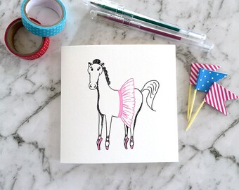 Greeting Card, Blank Card, Illustration, Farm Animal, Kids, Birthday, Ballet HORSE in TUTU