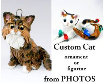 Cat Custom made from Photos as a Christmas Ornament, memorial or figurine