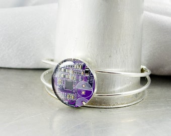 Recycled Circuit Board Bracelet, Circuit Board Jewelry, Purple Cuff, Geeky Bracelet, Short Circuit, Wearable Technology Gift for Her, Nerdy