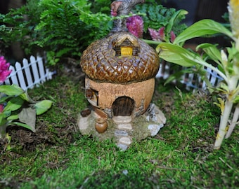 Acorn Fairy House+Fairy Garden Sculpture+Fairy Garden Supplies+Fairy Garden Miniatures+Fairy Garden Accessories