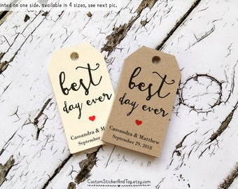 40 best day ever wedding favor tags, personalized wedding tags, party favor gift tag custom wedding favor tag rustic wedding tag (T-29)