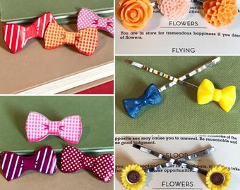 Bows and Flowers Hair Pins